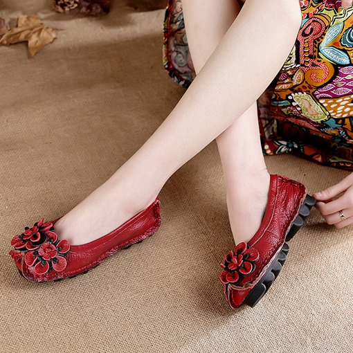 Slip-On Round Toe Casual Comfy Vintage Ethnic Style Women's Flats