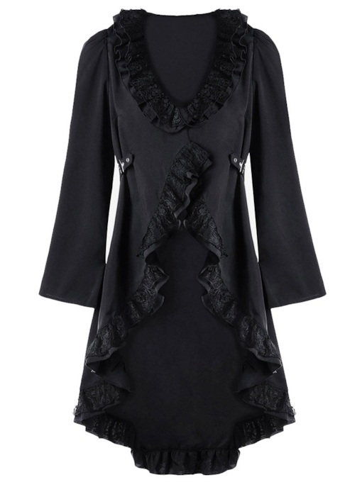 V-Neck Lace-Up Asymmetrical Women's Long Sleeve Dress