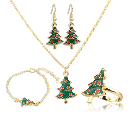 Christmas Tree Shape Oil Drip 2 Piece Jewelry Sets