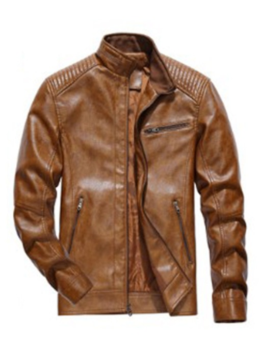 Zipper Plain Slim Men's Leather Jacket