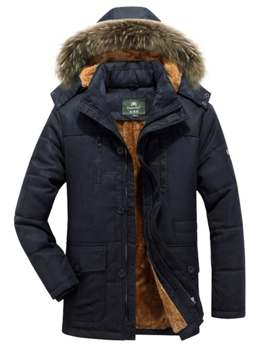 Stand Collar Slim Mid-Length Hooded Plus Fur Men's Jacket