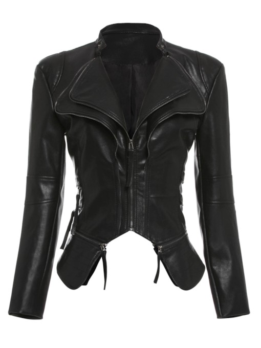 Zipper Short Slim PU Women's PU Jacket