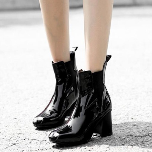 Round Toe Patchwork Elastic Chunky Heel Stylish Chelsea Ankle Boots