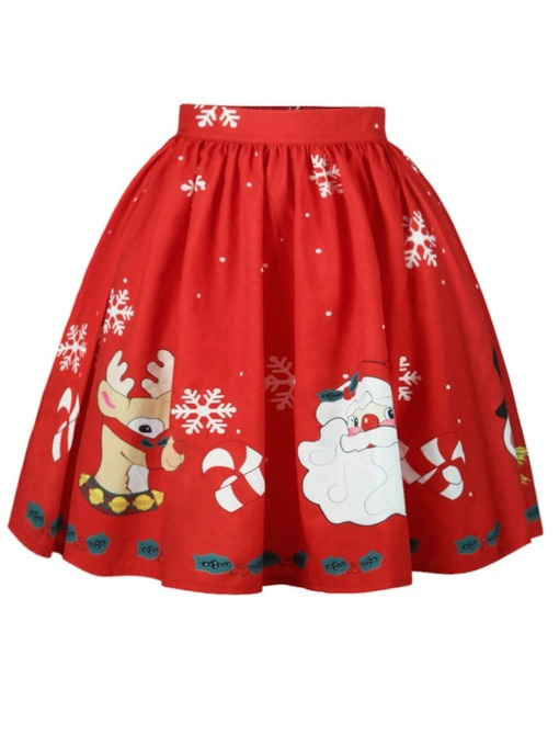 Christmas Cartoon Print Expansion High-Waist Women's Skirt
