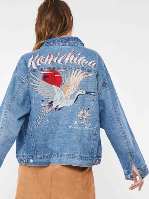 Denim Floral Crane Embroideried Women's Jacket