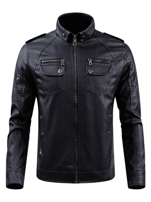 Zipper Stand Collar Plain Men's Leather Jacket