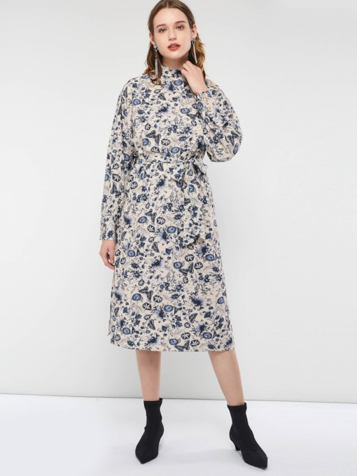 Split Floral Stand Women's Long Sleeve Dress
