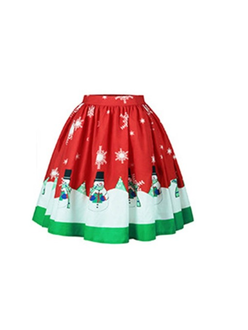 Christmas Mid-Calf Ball Gown Print High-Waist Women's Skirt