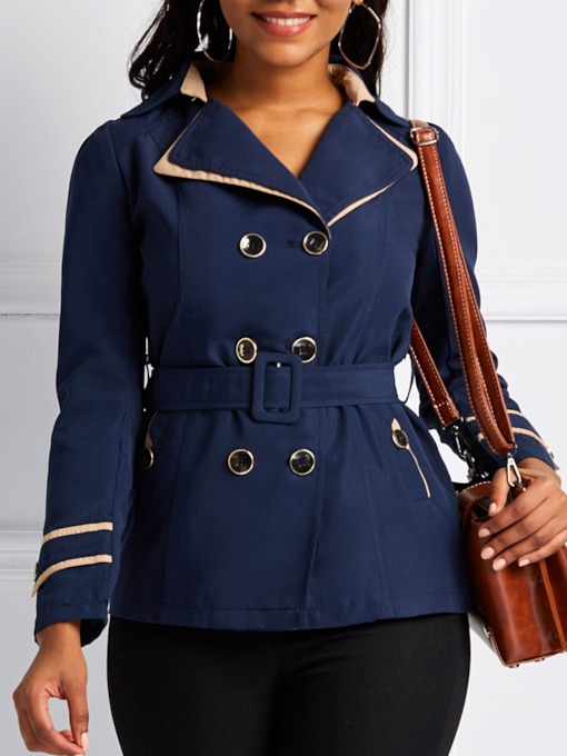 Slim Notched Lapel Double-Breasted Women's Trench Coat