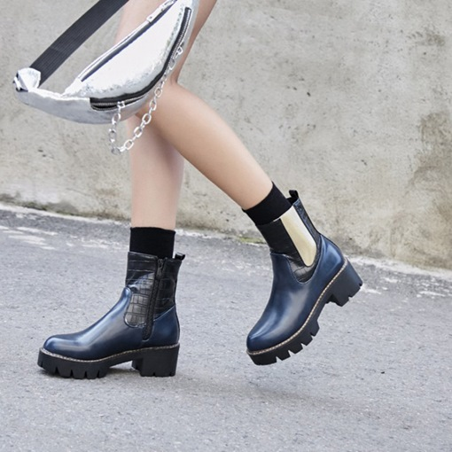 Color Block Side Zipper Round Toe Chunky Heel Chelsea Ankle Boots