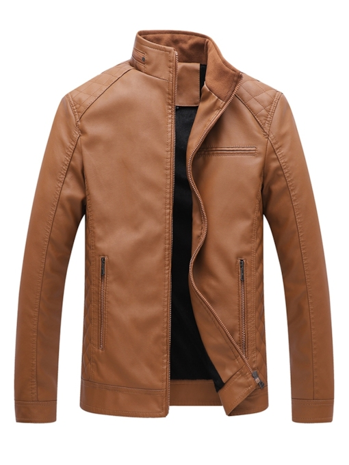 Slim Zipper Stand Collar Men's Leather Jacket