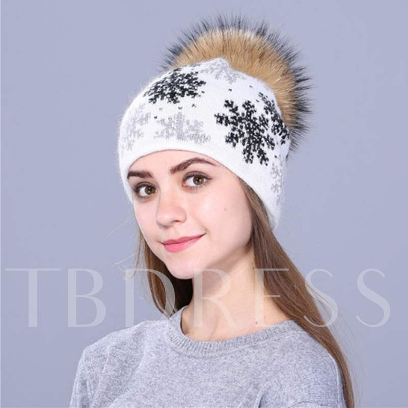 Snowflake Pattern Christmas Gift Wool Knitted Beanie