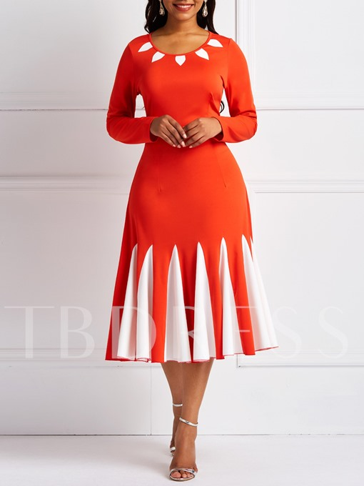 Patchwork Long Sleeve Color Block Women's Long Sleeve Dress