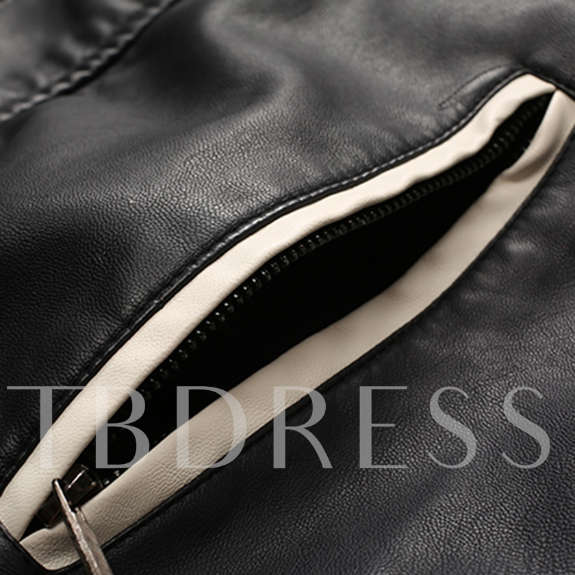 Slim Zipper Color Block Men's Leather Jacket