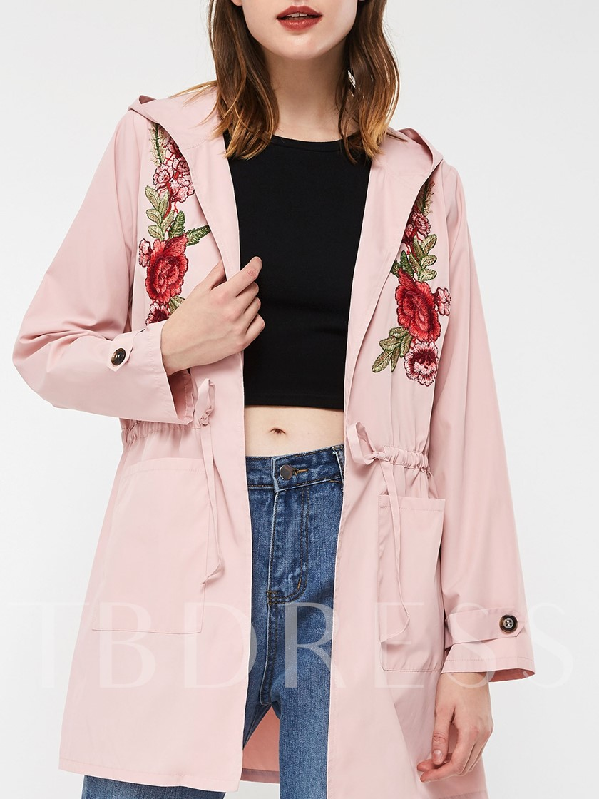 Lace-Up Mid-Length Hooded Floral Women's Trench Coat