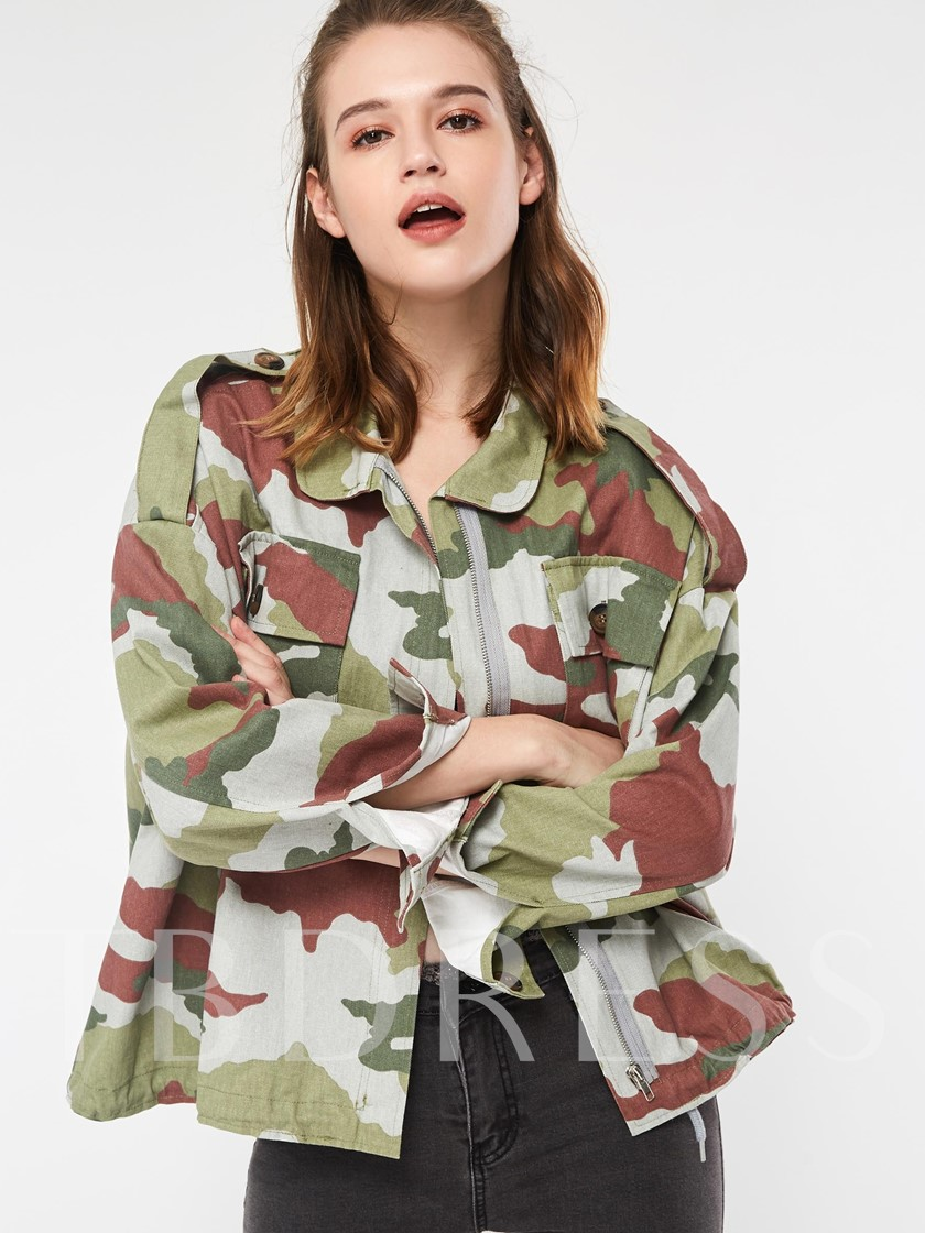 Camouflage Loose Dual Pockets Women's Jacket