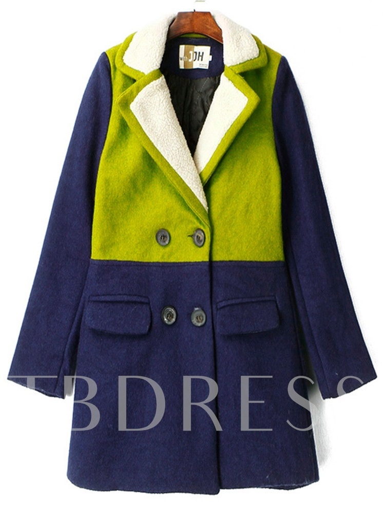 Color Block Double-Breasted Notched Lapel Women's Overcoat