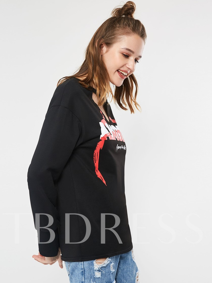 Letter Print Pullover Women's Hoodie