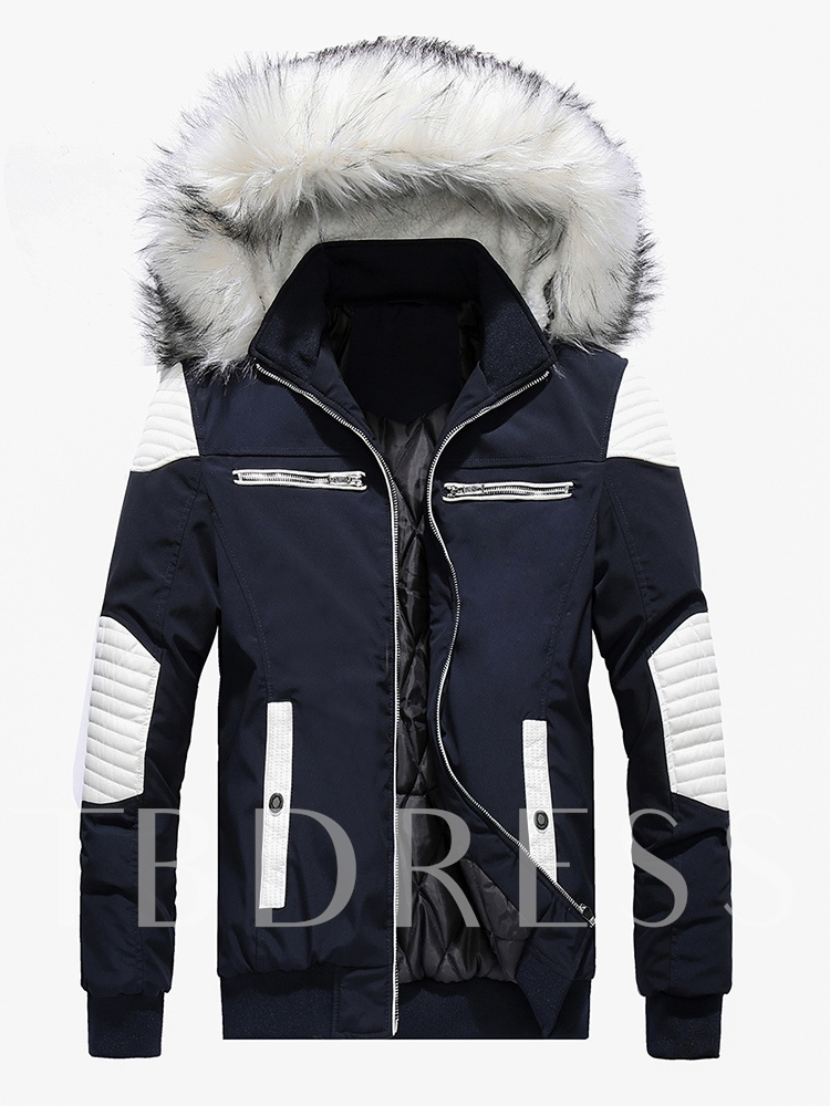 Slim Patchwork Color Block Zipper Hooded Men's Down Jacket