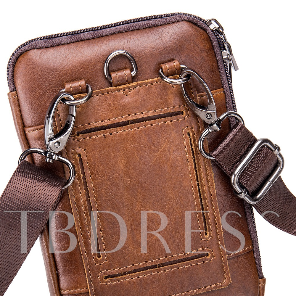 Retro European Men's Leather Waist Bag