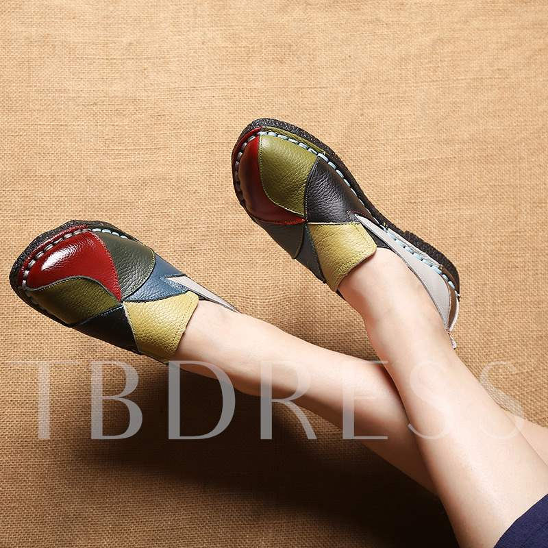 Round Toe Slip-On Block Heel Color Block Ethnic Style Women's Flats
