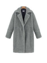 Notched Lapel Hidden Button Faux Fur Women's Teddy Coat