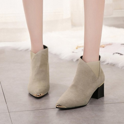 Patchwork Chunky Heel Back Zip Pointed Toe Women's Chelsea Ankle Boots