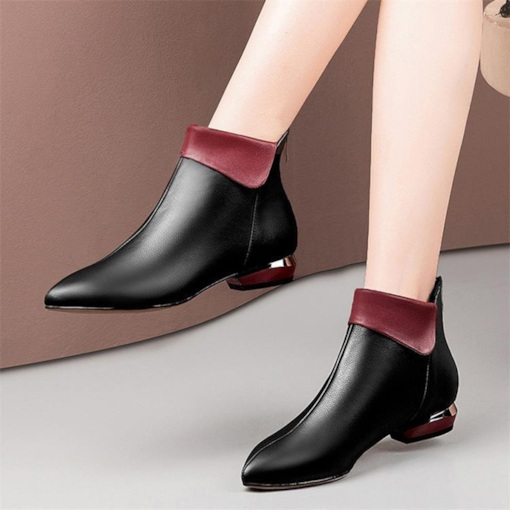 Color Block Pointed Toe Back Zip Women's Chelsea Ankle Boots