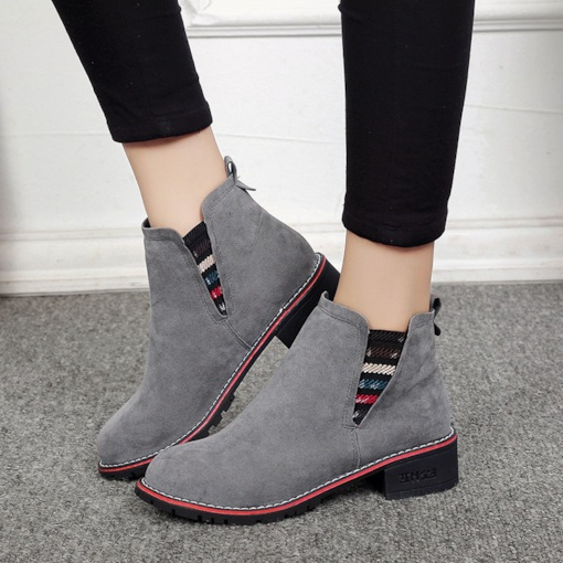 Block Heel Patchwork Slip-On Round Toe Women's Chelsea Ankle Boots