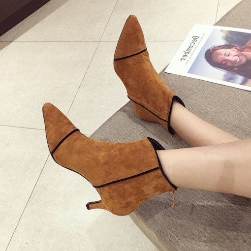 Back Zip Stiletto Heel Pointed Toe Fashion Ankle Boots for Women