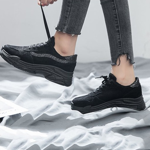 Platform Round Toe Lace-Up Casual Stylish Women's Sneakers