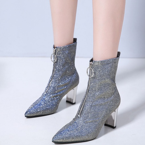 Chunky Heel Front Zipper Plain Pointed Toe Glitter Women's Ankle Boots