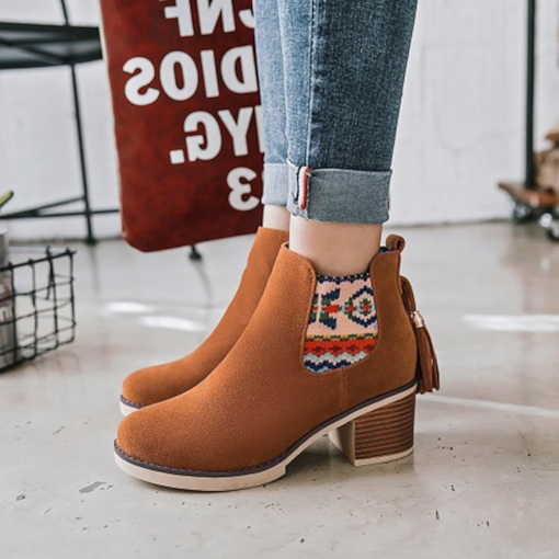 Chunky Heel Side Zipper Patchwork Round Toe Fringe Chelsea Boots