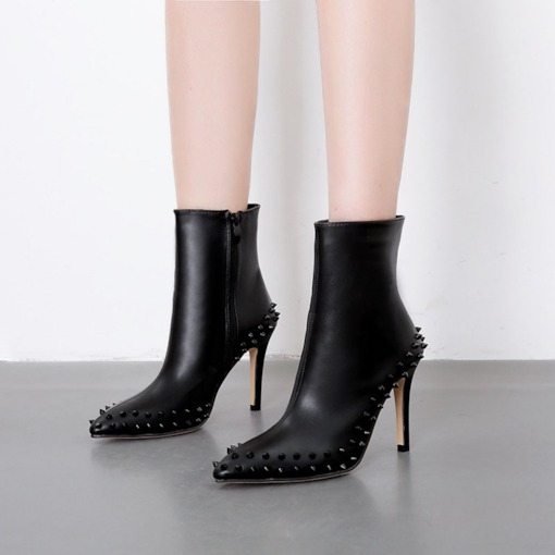 Pointed Toe Side Zipper Stiletto Heel Plain Casual Ankle Boots