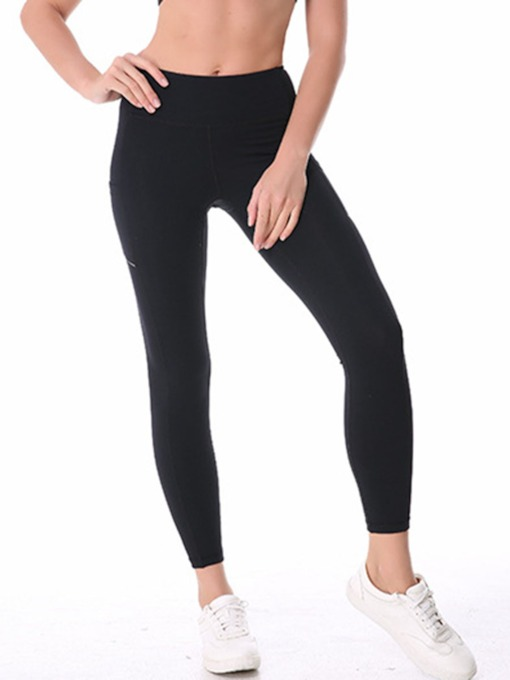 Nylon Solid Breathable Pockets Women's Sports Leggings