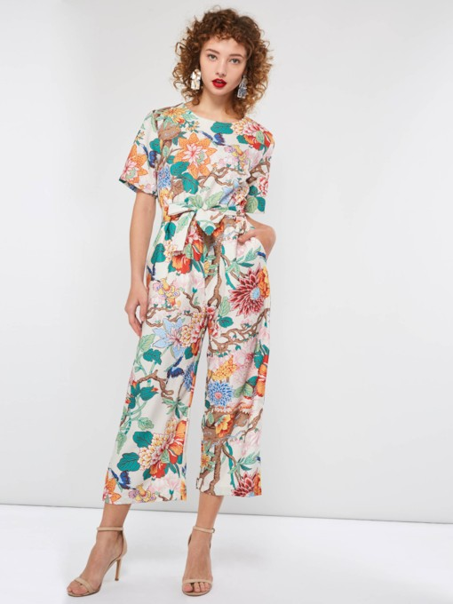 Floral Lace-Up Casual Mid-Calf Slim Women's Jumpsuits
