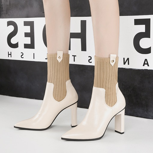 Slip-On Patchwork Chunky Heel Pointed Toe Fashion Women's Ankle Boots