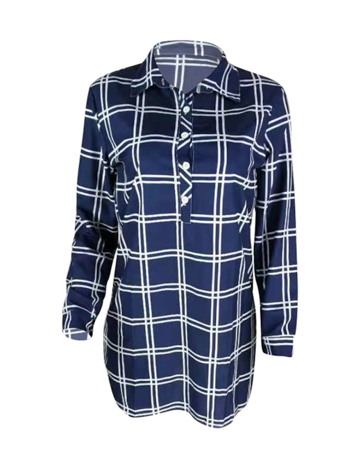 Lapel Button Plaid Women's Long Sleeve Dress