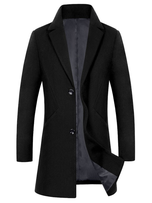 Slim Notched Lapel Plain Single-Breasted Men's Woolen Coat