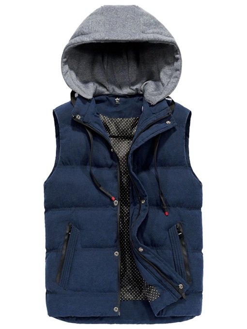 Plain Thick Stand Collar Hooded Men's Gilet