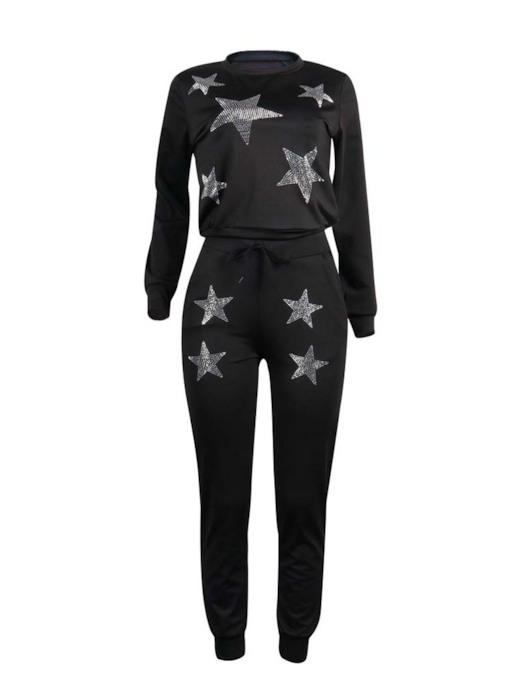 Star Print Hoodie and Pants Women's Two Piece Sets
