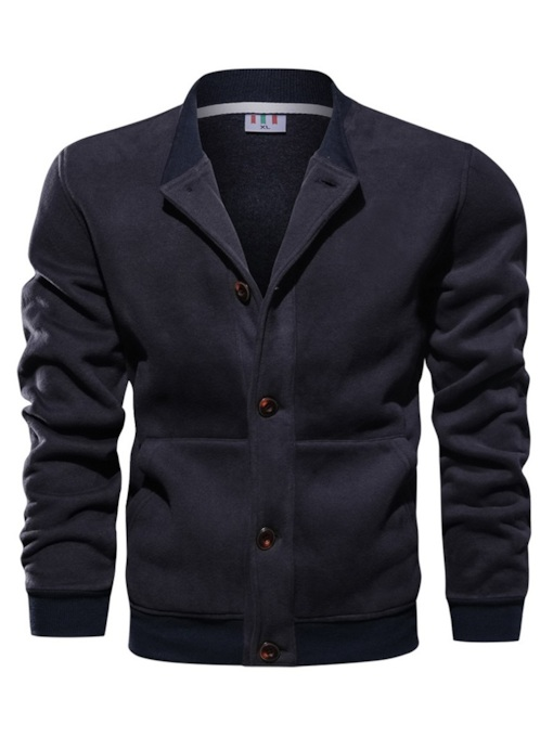 Stand Collar Slim Plain Single-Breasted Men's Jacket