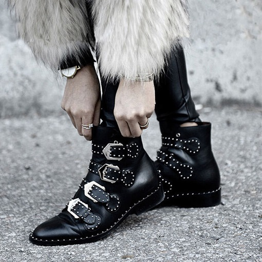 Round Toe Plain Hasp Block Heel Decorated Women's Ankle Boots