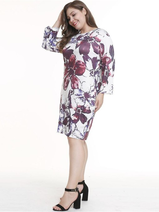 Long Sleeve Floral Print Women's Bodycon Dress