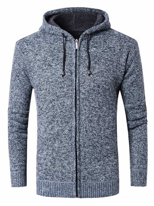 Hooded Slim Plain Casual Zipper Men's Sweater