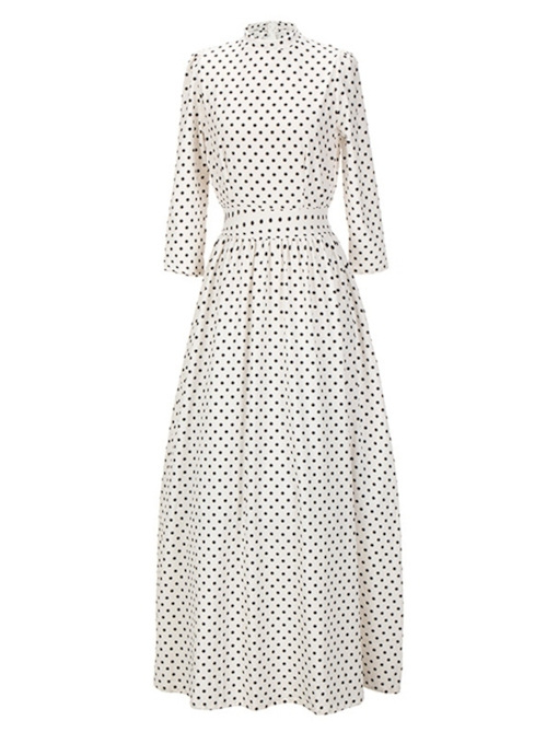 Vintage Polka Dots Stand Collar Women's Maxi Dress
