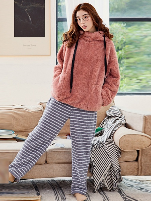Stripe Hooded Long Sleeve Women's Pajama Set