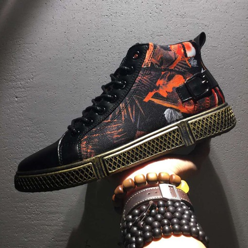 Mid-Cut Upper Lace-Up Round Toe Printed Men's Sneakers