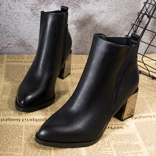 Patchwork Elastic Chunky Heel Round Toe Women's Chelsea Ankle Boots