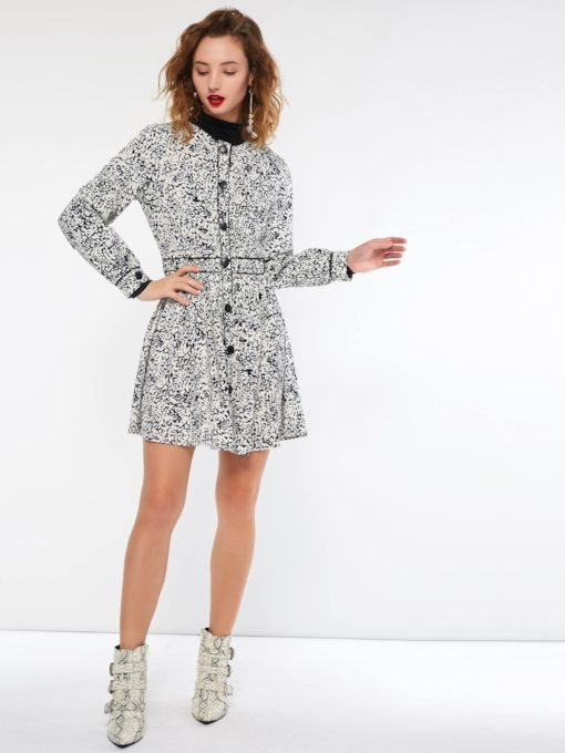 Single-Breasted Print Straight Women's Long Sleeve Dress